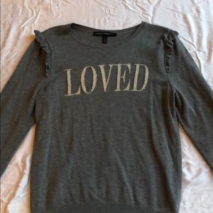 "White House Black Market Tops - ""Loved"" Grey Sweater With Shoulder Ruffles"